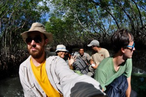 The Lab makes its way through the magroves of Los Haitises by boat.
