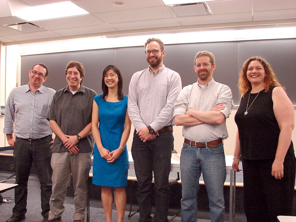 Julienne and her thesis committee immediately after her defense. From left to right, Dan Garrigan, Leo Flieshman, Julienne Ng, Rich Glor, Daven Presgraves, Helene McMurray